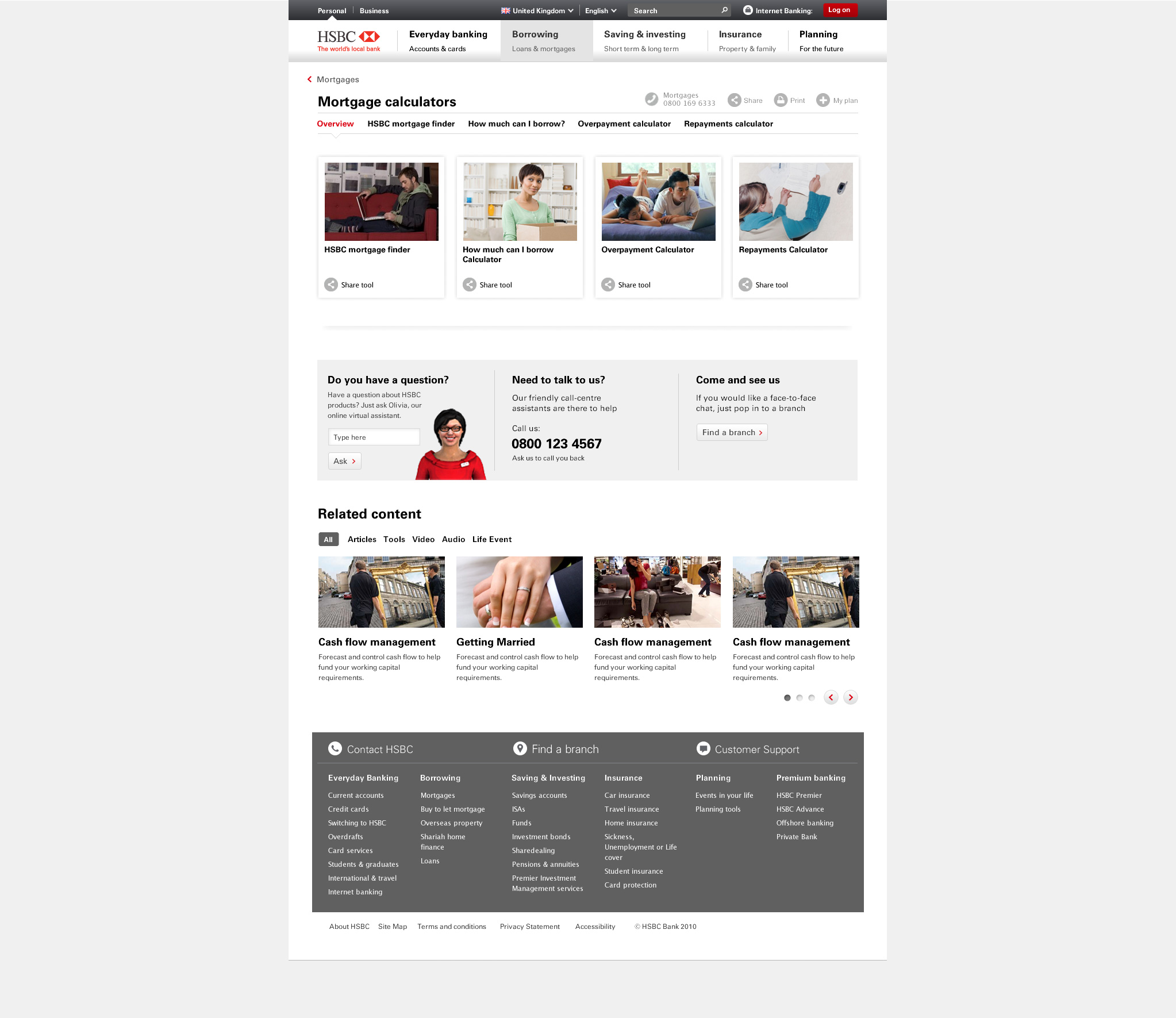 Mortgage tool selector page