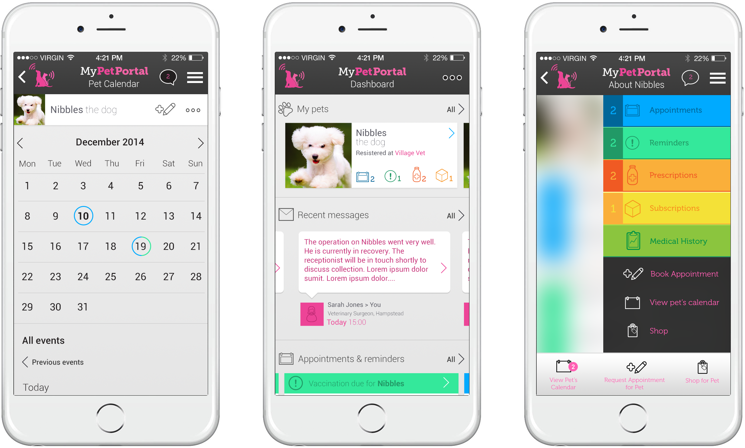 MyPetPortal app design