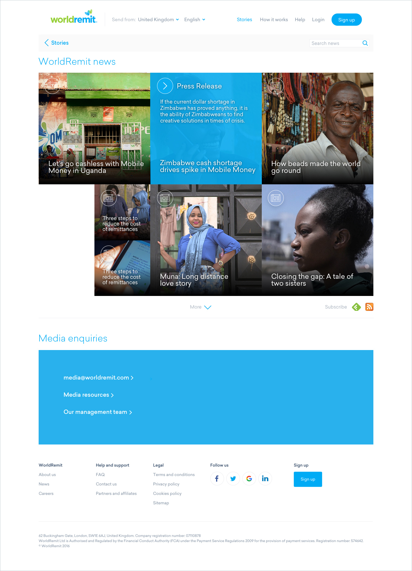WorldRemit Stories Newsroom page